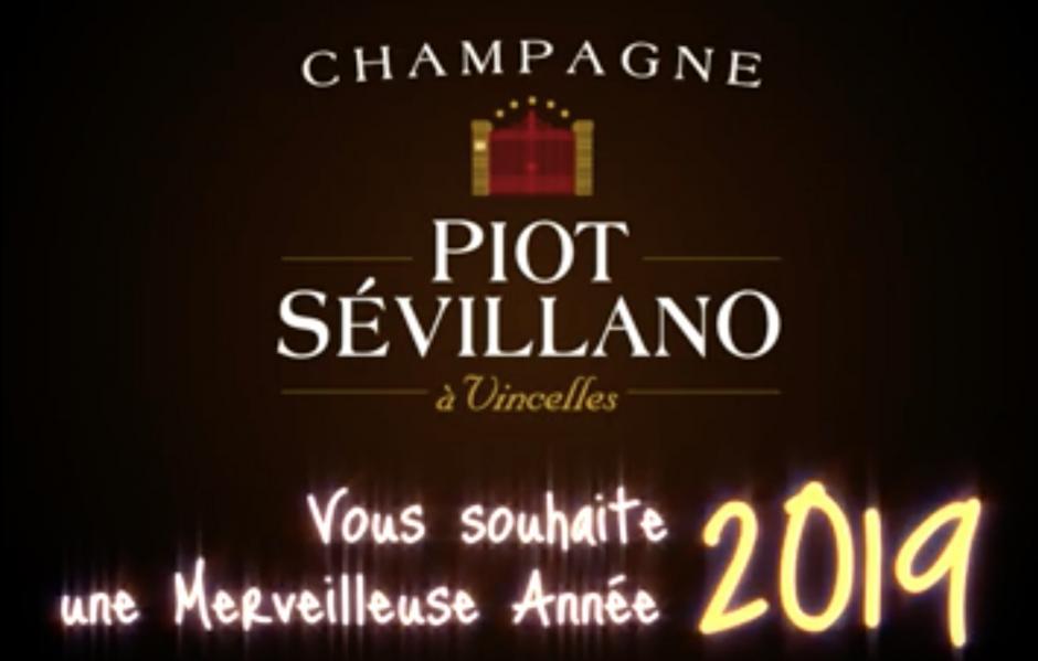Les voeux 2019 du Champagne Piot Sevillano vigneron artisan winegrower winemaker terroir